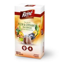 René ovocný čaj s příchutí švestka, skořice, kapsle pro Nespresso 10ks