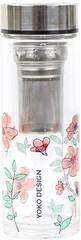 Yoko Design skleněná láhev se sítkem na čaj 350ml růžová